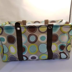 Thirty One Large Utility Tote Minty Chip EUC